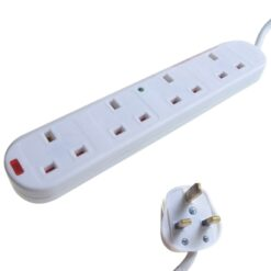 4 Way Mains Extension Outlet 2m Mains Lead & Surge & LEDs (3 pin 13 amp plug to 4 x 3 pin 13 amp sockets)