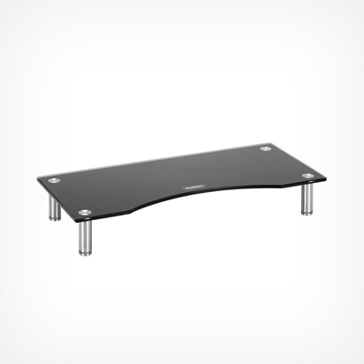 VonHaus Small Black Glass Monitor Stand - Suitable for Monitors