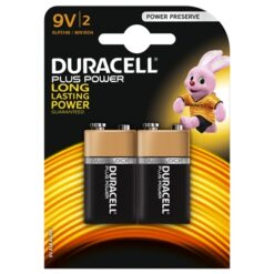 Duracell Plus Power Alkaline Pack of 2 9V Battery