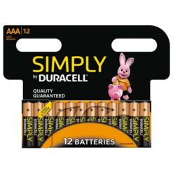 Duracell Simply Alkaline Pack of 12 AAA Batteries