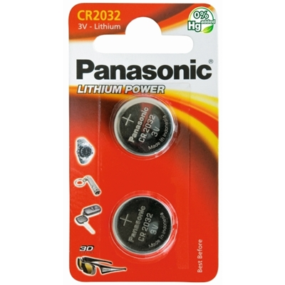 Panasonic Lithium Pack of 2 Coin Cell CR2032 Batteries