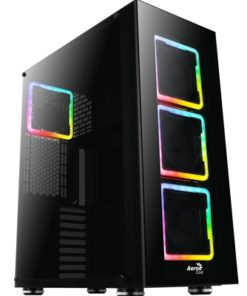 Aerocool Tor Pro Full Tower 2 x USB 3.0 / 2 x USB 2.0 Tempered Glass Side & Front Window Panel Black Case with Addressable RGB LED Fans