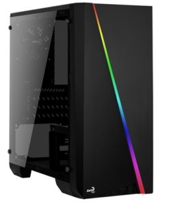Aerocool Cylon Mini Micro Tower 1 x USB 2.0 / 1 x USB 3.0 Tempered Glass Side Window Panel Black Case with RGB LED Illumination