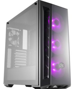Cooler Master MasterBox MB520 RGB Mid Tower 2 x USB 3.0 Edge-to-Edge Tempered Glass Side Window Panel Black Case with DarkMirror Front Panel & RGB LED Fans