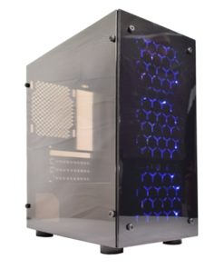 Cronus V4 Micro Tower 1 x USB 3.0 / 2 x USB 2.0 Acrylic Side & Front Window Panel Black Case with 3 x Blue LED Fans