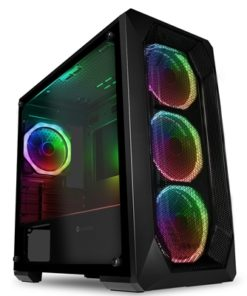Game Max Kamikaze Pro Micro Tower 2 x USB 3.0 / 2 x USB 2.0 Tempered Glass Side Window Panel Black Case with Addressable RGB LED Fans