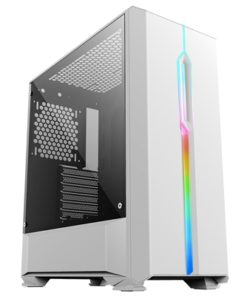 Game Max Solar White Mid Tower 2 x USB 3.0 Tempered Glass Side Window Panel White Case with Addressable RGB LED Lighting