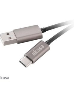 Akasa USB 2.0 A (M) to USB 2.0 C (M) 1m Grey Retail Packaged Data Cable