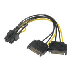 Akasa 6+2 Pin PCIe (M) to 2 x SATA Power (M + M) Adapter Cable