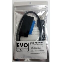 "Evo Labs USB 3.0 A (M) to SATA (M) Black Retail Packaged Converter Adapter Cable - For use with 2.5"" Hard Drives and SSD"