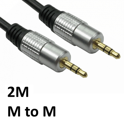 3.5mm (M) Stereo Plug to 3.5mm (M) Stereo Plug 2m Black with Gold Connectors OEM Cable