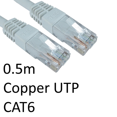 RJ45 (M) to RJ45 (M) CAT6 0.5m White OEM Moulded Boot Copper UTP Network Cable