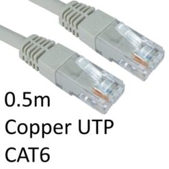 RJ45 (M) to RJ45 (M) CAT6 0.5m Grey OEM Moulded Boot Copper UTP Network Cable