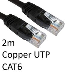 RJ45 (M) to RJ45 (M) CAT6 2m Black OEM Moulded Boot Copper UTP Network Cable