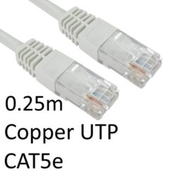 RJ45 (M) to RJ45 (M) CAT5e 0.25m White OEM Moulded Boot Copper UTP Network Cable