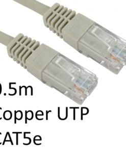 RJ45 (M) to RJ45 (M) CAT5e 0.5m Grey OEM Moulded Boot Copper UTP Network Cable