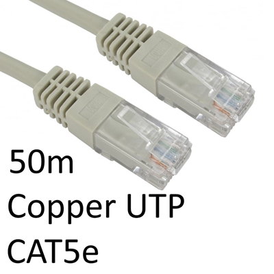 RJ45 (M) to RJ45 (M) CAT5e 50m Grey OEM Moulded Boot Copper UTP Network Cable