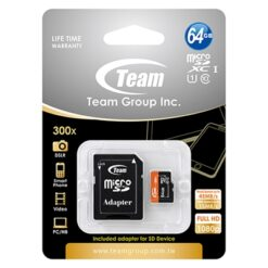 Team 64GB Micro SDXC UHS-1 Class 10 Flash Card with Adapter