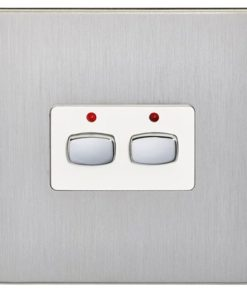 Energenie MiHome  2-Gang Light Switch Brushed Steel MIHO073