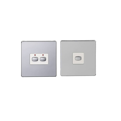 Energenie MIHO092 Energenie MiHome 2-Gang Light Switch Chrome (Master/Slave) - Pack of 2