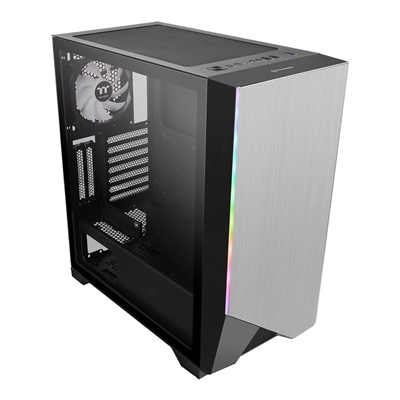 Thermaltake H550 TG ARGB Mid Tower 1 x USB 3.0 / 2 x USB 2.0 Tempered Glass Side Window Panel Silver Case with Addressable RGB LED Lighting & Fan