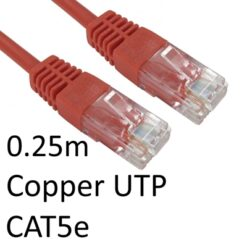 RJ45 (M) to RJ45 (M) CAT5e 0.25m Red OEM Moulded Boot Copper UTP Network Cable