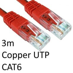 RJ45 (M) to RJ45 (M) CAT6 3m Red OEM Moulded Boot Copper UTP Network Cable