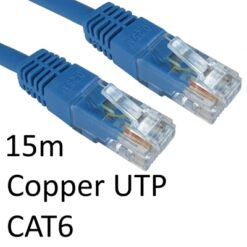 RJ45 (M) to RJ45 (M) CAT6 15m Blue OEM Moulded Boot Copper UTP Network Cable