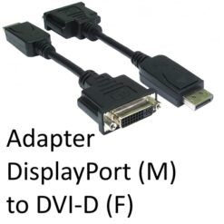DisplayPort 1.2 (M) to DVI-D (F) Black OEM Adapter