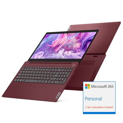 Lenovo IdeaPad 3 15ARE05 AMD Ryzen 3 4300U 4GB RAM 128GB SSD 15.6 inch Full HD Win 10 S Laptop Cherry Red - includes 1 Year Microsoft Office 365 Personal