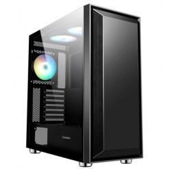 GameMax Stealth Mid Tower 1 x USB 3.0 / 2 x USB 2.0 Tempered Glass Side Window Panel Black Case with Addressable RGB LED Fans